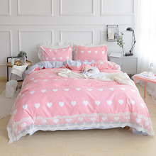New sweet lace pink bedding set patchwork ruffle duvet cover wrinkle bed sheet bedroom decoration bedding princess bedding sets(China)