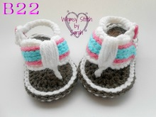 Free Shipping Cotton knitted baby Sandals, Baby boy knitting Flip Flops Sizes 0-12 Months(China)