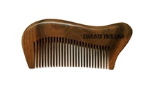 Customized Your Logo Natural Green Sandal Wood Combs Hair Wood Comb High Quality(China)