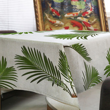 Tablecloth Tropical Plants Nappe Rectangulaire Green Coconut Leaves Decorate Wedding Tablecloth on The Table Round Table Cloth