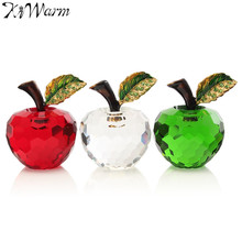 Modern 40mm 3D Crystal Paperweights Glaze for Apple Figurine Ornaments Glass Crafts Office Desktop Decor Wedding Birthday Gifts(China)