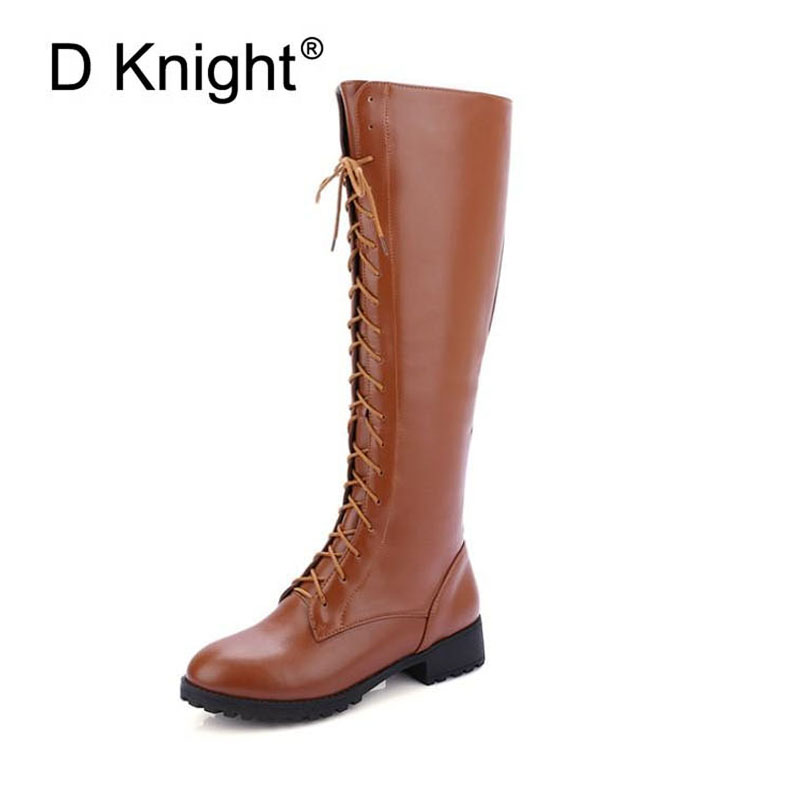 New Fashion Round Toe Lace Up Flat Riding Boots For Women Vintage Ladies Casual Pu Knee High Boots Size 34-43 Female High Boots<br>