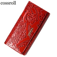 cossroll floral pattern women wallets leather long purse luxury brand women wallet leather ladies coin purse(China)