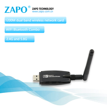 ZAPO Gaming Bluetooth 4.1 Add 5.8G WIFI 1200Mbps Wireless AC USB 3.0 Adapter 2dbi Antenna Network Card For Windows Linux Android(China)