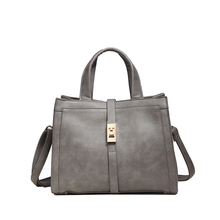 Top Leather Lady Bandbag Tote European & American Simple Pure Color Women Handbag Fashion Buckle Button Strap Shoulder Bags(China)
