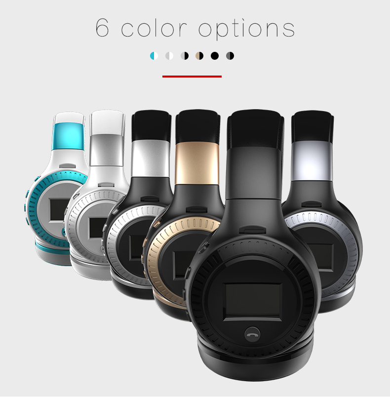 Zealot B19 Wireless Headphones LCD Display Screen HiFi Bass Stereo Earphone Bluetooth Headset with Mic + FM Radio + TF Card Slot 19