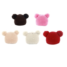 Baby Boy Girl Cap Double Ball Lovely Wool Hat Autumn Winter Warm Hat Monochrome -B116