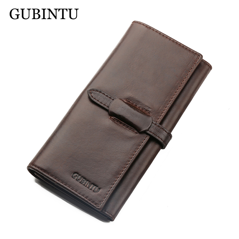 GUBINTU Brand 100% Genuine Cowhide Leather Men Long Wallet Coin Purse Vintage Designer Male Carteira Wallets<br><br>Aliexpress