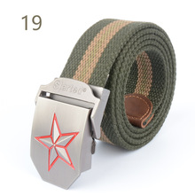 Military Belt 3D Red Star Automatic Buckle Belts Fashion Men's Canvas Belts Male Casual Strap Waist of Trousers Luxury Belt