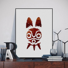 Original Watercolor Princess Mononoke Miyazaki Japanese Anime Movie Art Print Poster Abstract Wall Picture Canvas Painting Decor(China)