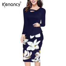 Kenancy 2017 New 5XL Plus Size Floral Print Patchwork Office Max Dress Women Long Sleeve Elegant Button Work Bodycon Vestidos(China)