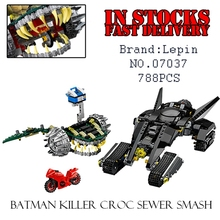788PCS LEPIN 07037 Killer Croc Sewer Smash Super Heroes DC Batman Superhero Batmobile Building Bricks Blocks Toys 76055(China)