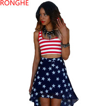 RongHe New Skirt Sets Ensemble Femme Europe United States Flag Suit Crop Top And Irregular Skirt Fashion Sexy Women Skirts Suits