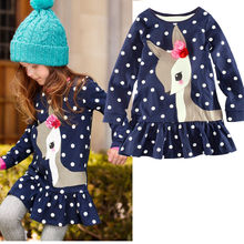 2017 Fashion 2y-6y Baby Girls Dress Cute Deer Long Sleeve Cotton Polka Dots Top Children For Girl Clothes(China)