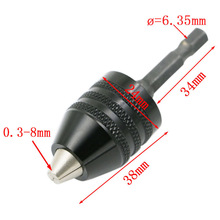 2017 New 1Pcs Universal 0.3-8mm 1/4 Inch 6.35mm Hex Shank Keyless Drill Chuck Quick Change Screwdriver Adaptor Power Tools