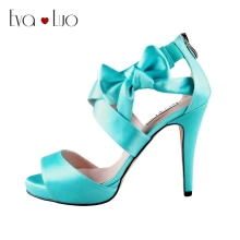 CHS593 DHL Express  Custom Made Cross Strap Turquoise Silk Wedding Shoes Women Sandals Dress Shoes Chassure Femme