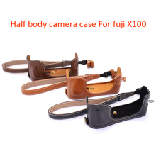 PU Leather Camera Bag Cover with Wrist Band Strap Convenient Half Body Camera Protective Case for Fuji X100(China)