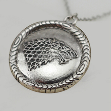 2014 New Design Euro-American Song Of Ice And Fire Game of Thrones Stark Wolf Badge Necklace Pendant Jewelry(China)