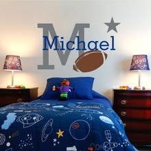Personalized Rugby Wall Stickers Boys Name Wall Decal Custom Name Baby Nursery Wall Decals Home Decors Room Decoration(China)
