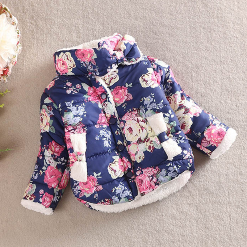 High Quality Winter Jacket for Girls Lovely Floral Baby Girls Warm Coat Long Sleeve Outwear Cotton Jacket Sweet Kids CoatsОдежда и ак�е��уары<br><br><br>Aliexpress