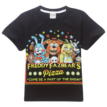 2017 boys black T shirt cartoon Five Nights at Freddy Children T shirts for kids 100%Cotton Boys Clothes(China)
