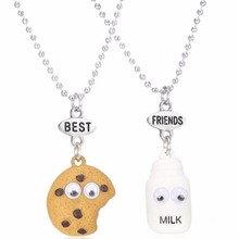 Best Friends BFF Pendant Bead Chain Necklace Fastfood Milk Cookie Biscuit Kids Jewelry Lead 2pcs/set #240697