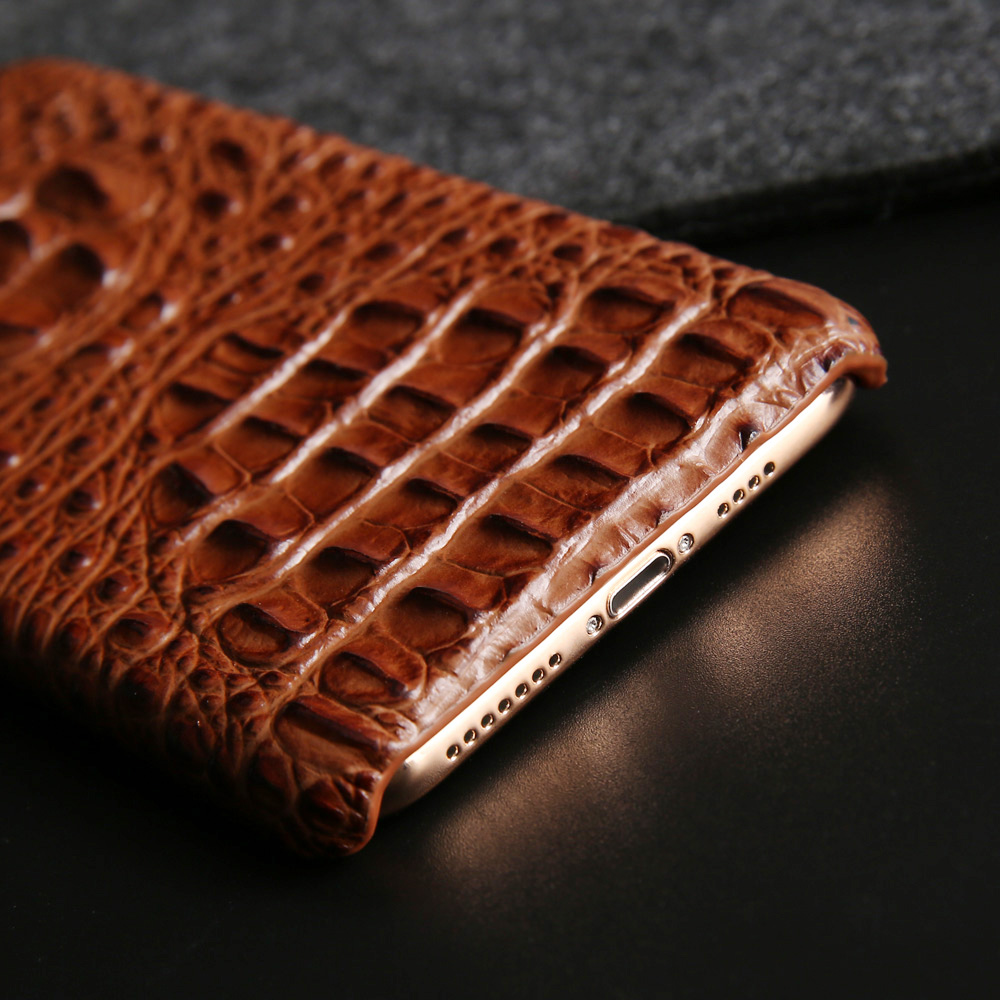 Genuine Leather Hard Case for Iphone Xs Max Xr X 10 8 7 6 6s Plus Luxury Crocodile Head Back Cover for Samsung Note 9 8 S9 Plus