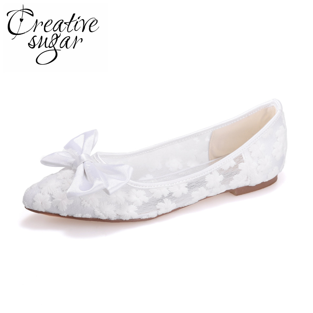 Creativesugar pointed toe perspective see through lace ballet flats ribbon bow pink black white ivory pink royal blue lady shoes<br>