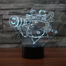 3D League of Legends Figure Illusion Table Lamp LOL Teemo LED Night Light 7 Colors changing Mood Light Xmas Gift