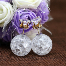 New fashion double sides 9 colors crystal stud earring two round ball stud for girls party gift fine jewelry free shipping B1647