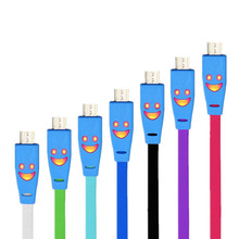 High Quality Smile flash Multi-color noodle design Anti-winding Micro USB interface data cable For Samsung