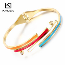 Kalen Unique Stainless Steel Bulgaria Gold Color Colorful Rainbow Hinged Bangle & Bracelet For Women Rose Gold Color Wristband(China)