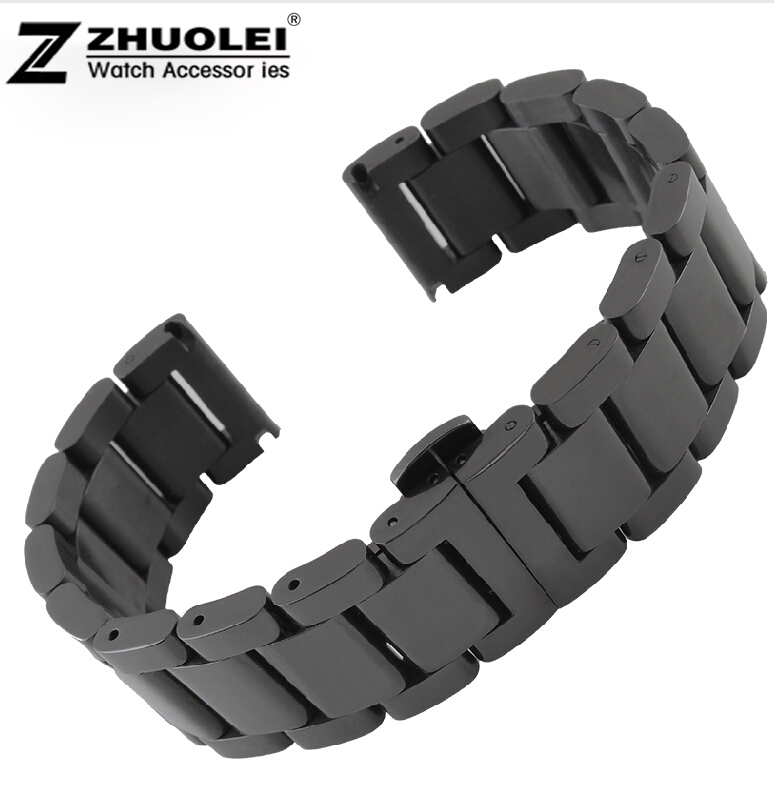 18mm 20mm 21mm 22mm New Mens High Quality Heavy Solid Stainless Steel Watch BANDS Bracelets<br>