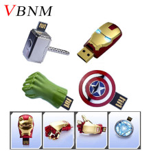 VBNM The Avengers Metal captain american hulk USB Flash Drive Iron Man pendrive 32GB 16GB 8GB 4GB Flash Memory Stick Drives(China)