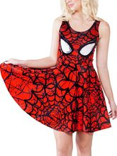 Hot selling 2015 new style fashion micro fiber high quality 3D printed red SpiderMan soft slim women's summer dress casual dress(China)