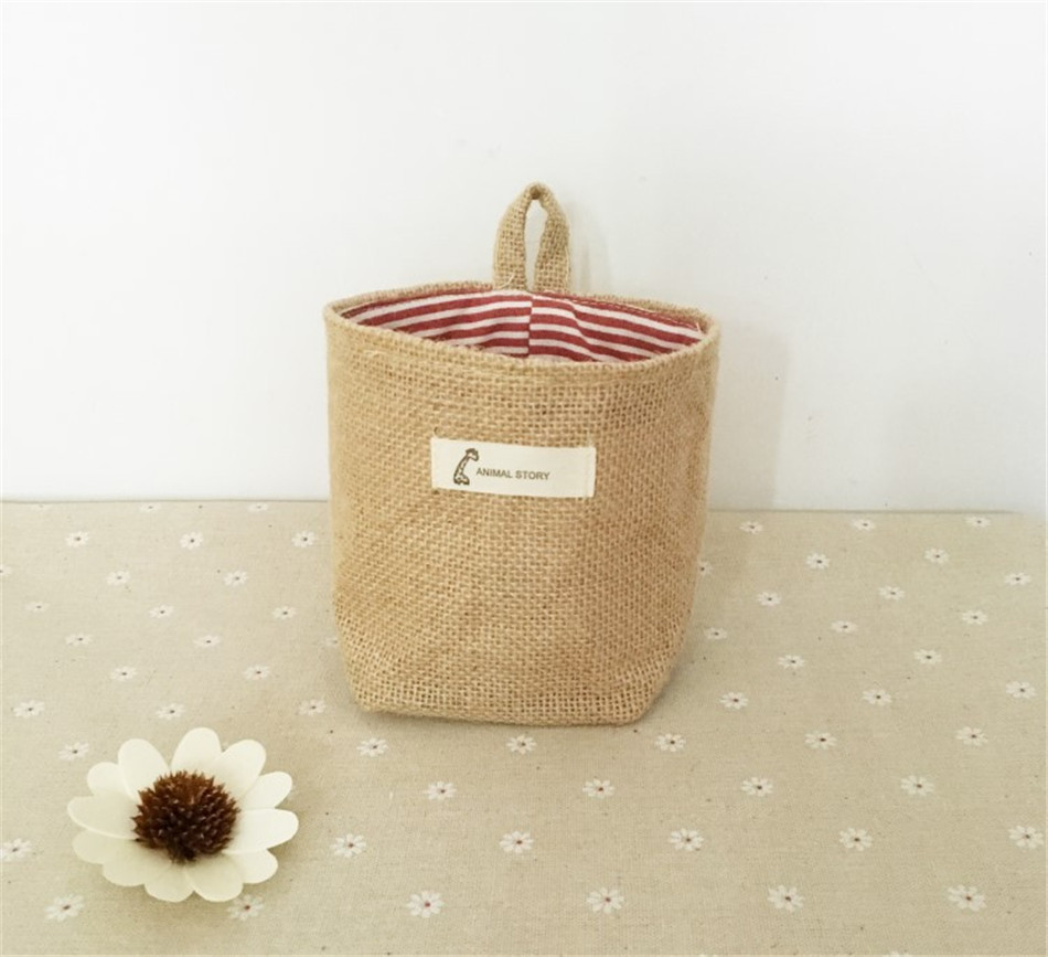 Linen Woven Storage Basket Polka Dot Small Storage Sack Cloth Hanging Non Woven Storage Basket Buckets Bags Kids Toy Box (7)