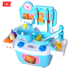 Kids Assembly Toy Kitchen Simulation Faucet Fruit Vegetable Egg Cooking Food Prentend Play Set for Children Color Pink Blue D50(China)