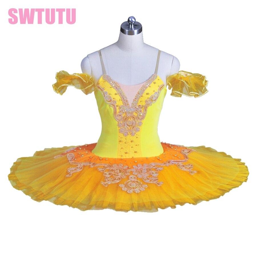 girls gold yellow classical ballet tutu green performance ballet tutus in pink,blue swan lake ballet tutu costumes BT8965