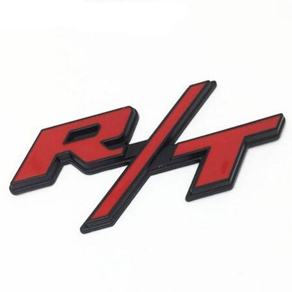 R T Red Chrome Trim Fender Trunk Emblem Badge Decal Chevy Ford Dodge Chrysler