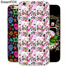 DREAM FOX K074 Ed Hardy Transparent Hard Thin Case Cover For Apple iPhone 8 X 7 6 6S Plus 5 5S SE 5C 4 4S(China)