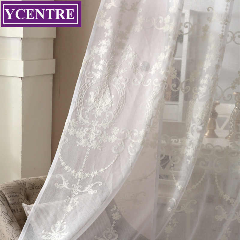 Ycentre Embroidered White Tulle Curtains For Living Room European Voile Sheer Curtain For Window Bedroom Lace Fabrics Drapes