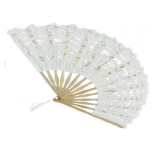 White Handmade Cotton Lace Folding Hand Fan Party Bridal Wedding Decor Gift