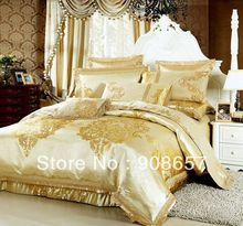 gold luxurious pattern bedding set 10 pcs Queen bed in a bag set Quilted sheet Jacquard Satin Cotton Fabric quilt/duvet covers