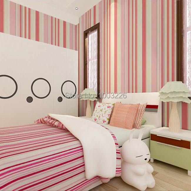 kids colorful striped wallpaper kids flocking simple striped wallpaper bedroom living room sofa backgroumd for wall paper roll<br><br>Aliexpress