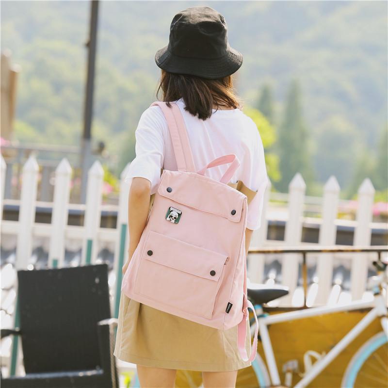Menghuo Brand Female Women Canvas Backpack Preppy Style School Lady Girl Student School Laptop Bag Cotton Fabric bolsasUUON5699