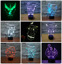 Pokemon Go Action Figure 3D RGB Lamp Pikachu Eevee Turtle Bird Fire Dagron Pokeball Ball Bulbasaur Bay Role Gift Night Light LED