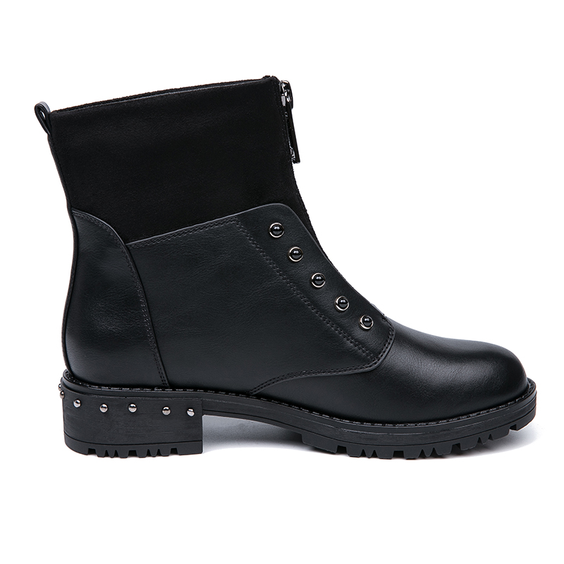 IMG_5643AIMEIGAO Front Zipper Black Ankle Boots For Women Warm Fur Plush Insole Women Boots Low Heel Cool Style Autumn Women Shoes