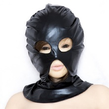 2017 New Patent leather Fetish Open 3 Hole Hood Mask Head Bondage Black Audlt Games Sex Products For Women - Small Size