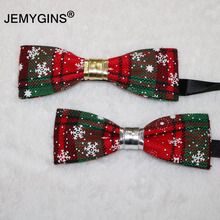 JEMYGINS Fashion Family Christmas Suit Cotton Linen Men&Boy Bow Tie Brooch Corsage Girl Hair Hoop Handmade Design Self Wedding(China)