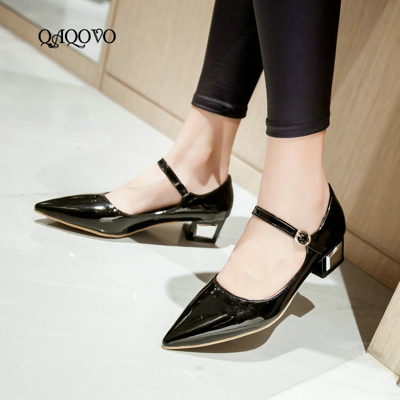 Women Ankle Strap Buckle Pointed Toe Flats Mary Jane Faux Suede Low Wedge Heel